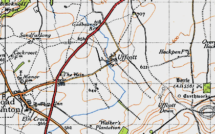 Old map of Barbury Hill in 1947