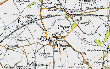 Old map of Uffington in 1947