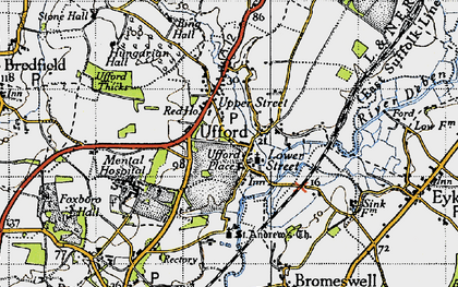 Old map of Ufford in 1946