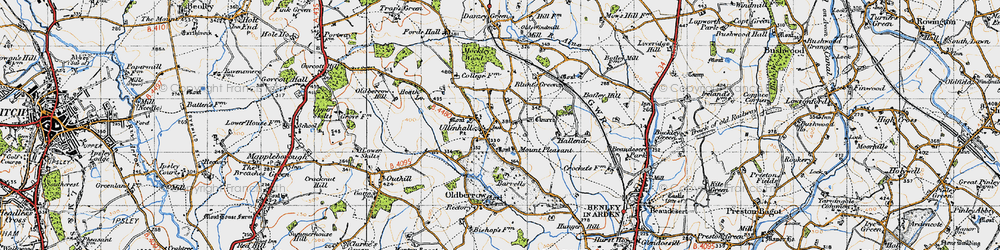 Old map of Ullenhall in 1947