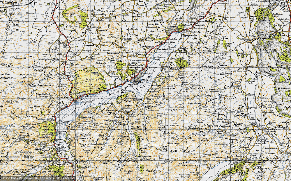 Old Map of Historic Map covering Arthur's Pike in 1947