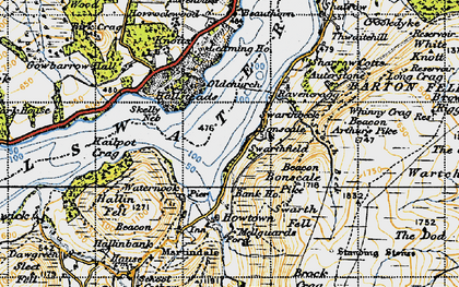 Old map of Arthur's Pike in 1947