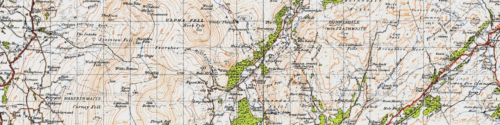 Old map of Yew Pike in 1947