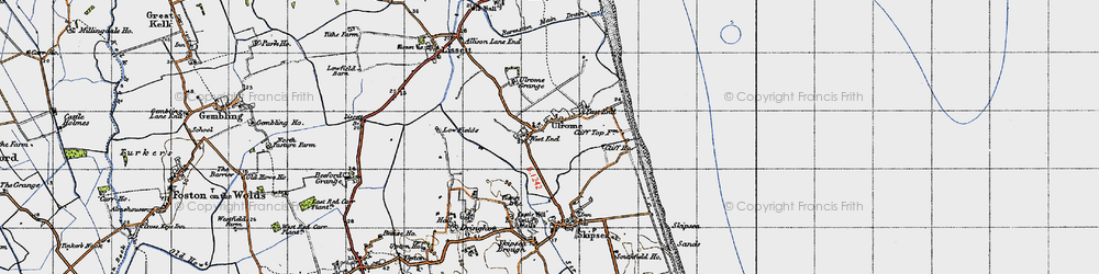 Old map of Ulrome in 1947