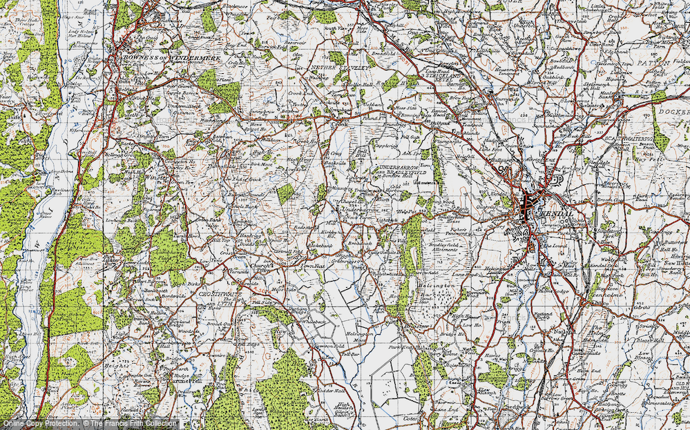 Old Map of Historic Map covering Lindreth Brow in 1947