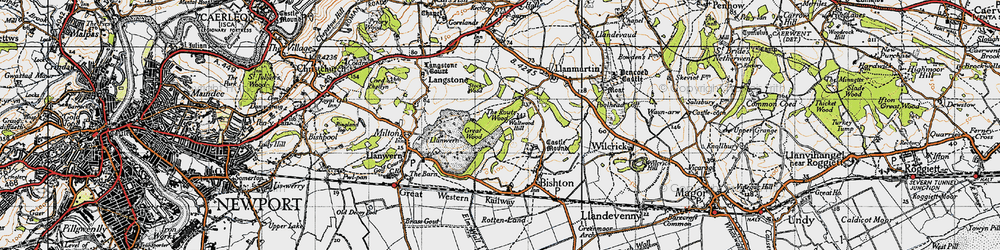 Old map of Underwood in 1946