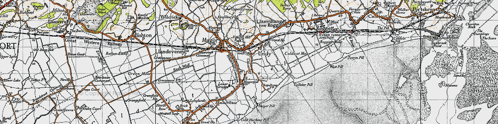 Old map of Undy in 1946