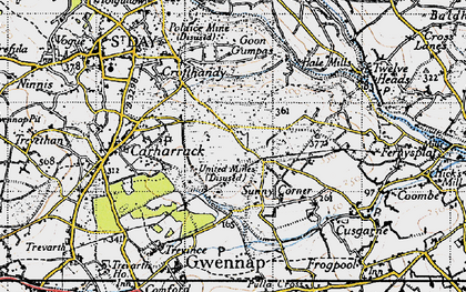 Old map of United Downs in 1946