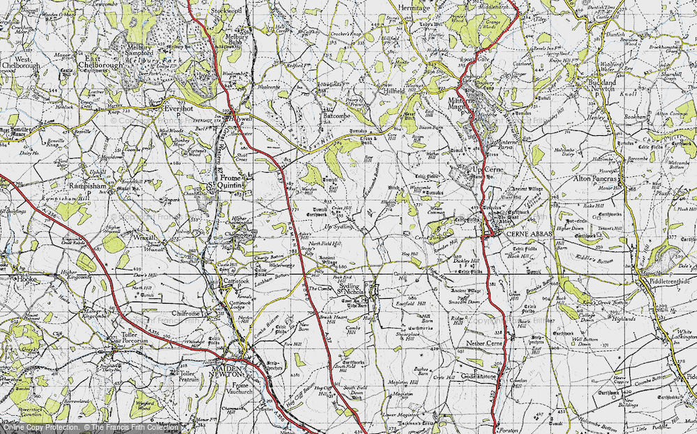 Old Map of Historic Map covering Ayles's Hill in 1945