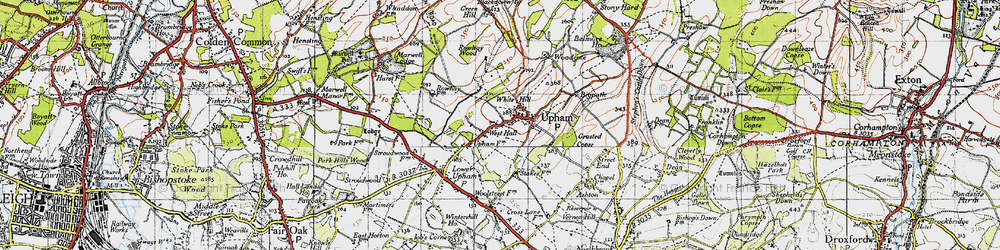 Old map of White Hills in 1945