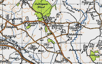 Old map of Upleadon in 1947