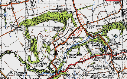 Old map of Upleatham in 1947