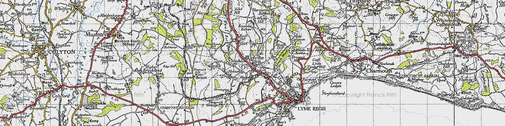 Old map of Uplyme in 1945