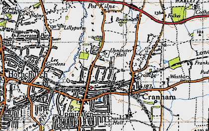 Old map of Upminster in 1946