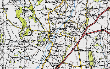Old map of Upottery in 1946