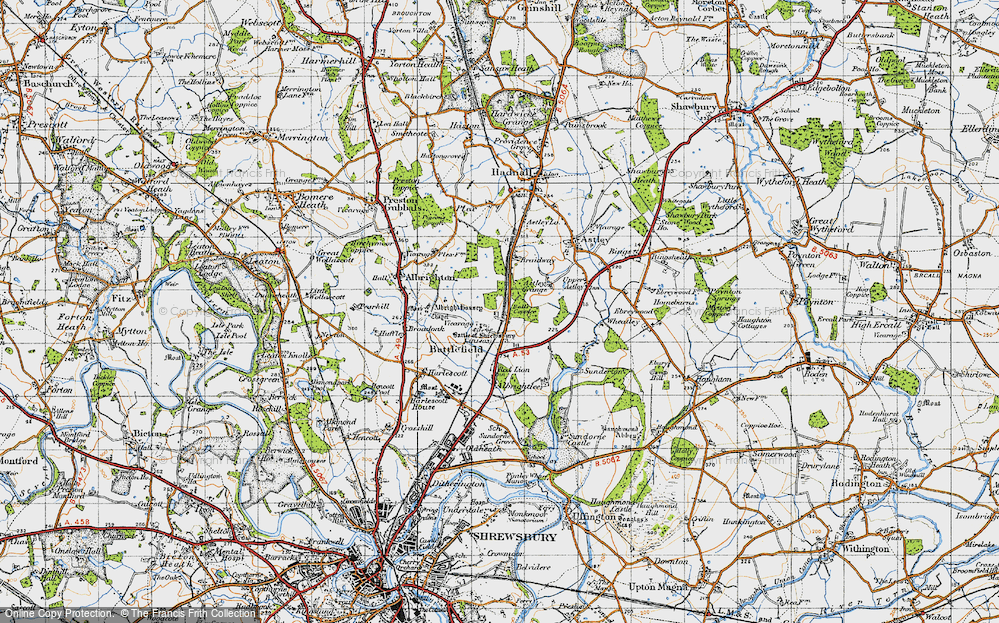 Old Map of Historic Map covering Albright Hussey in 1947