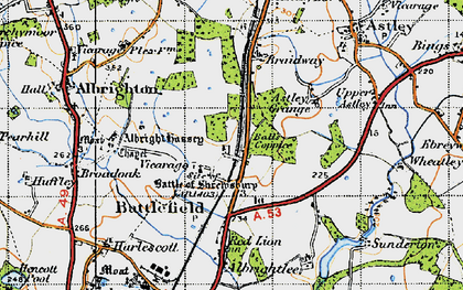 Old map of Albright Hussey in 1947