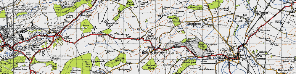 Old map of Westwood Lo in 1946