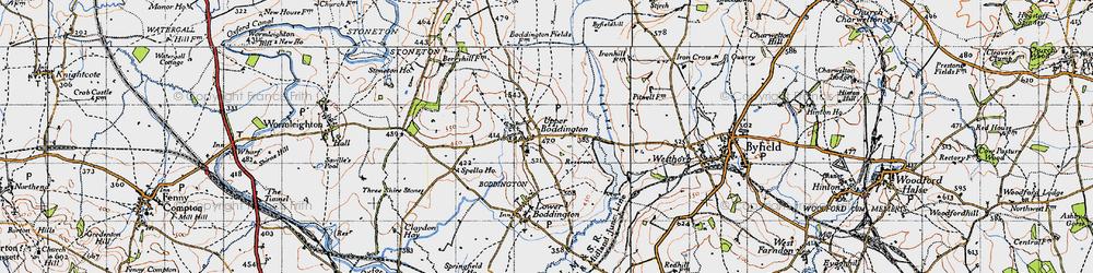 Old map of Upper Boddington in 1946