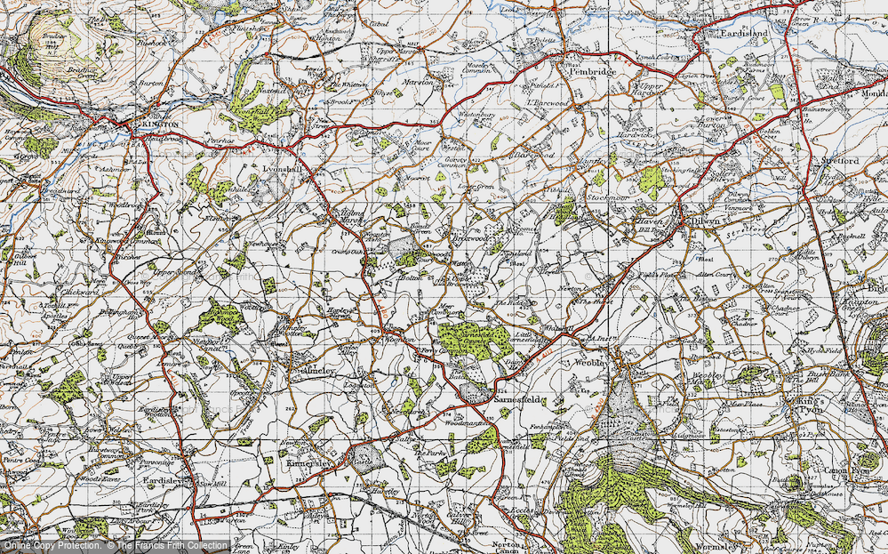 Old Map of Historic Map covering Wetton in 1947