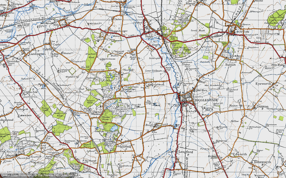 Old Map of Upper Caldecote, 1946 in 1946