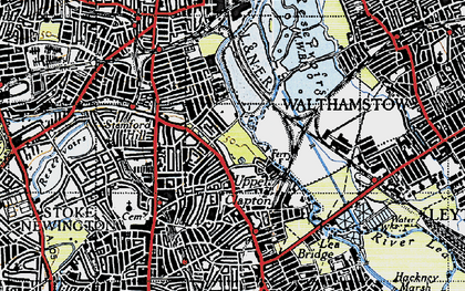 Old map of Upper Clapton in 1946