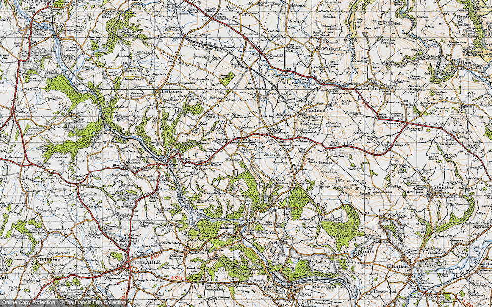 Old Map of Historic Map covering Lanehead in 1946