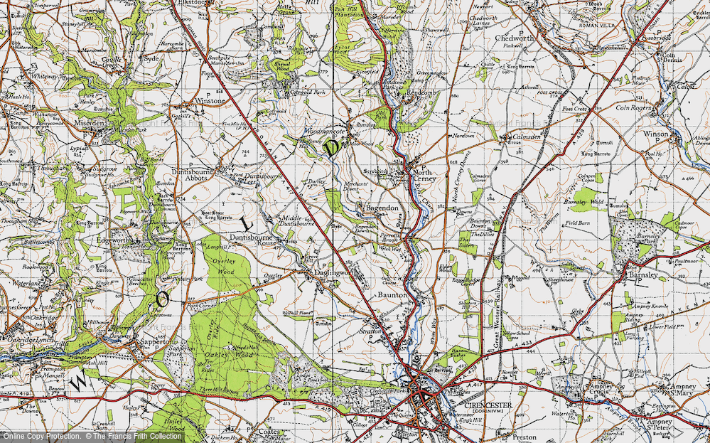 Old Map of Historic Map covering Bagendon Downs in 1946