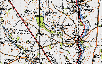 Old map of Bagendon Downs in 1946