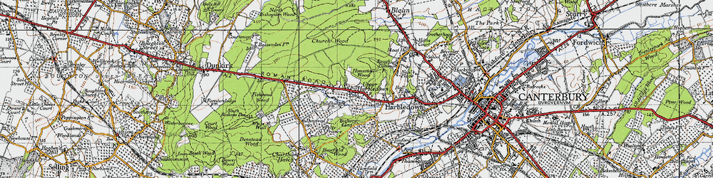 Old map of Tonford Manor in 1947
