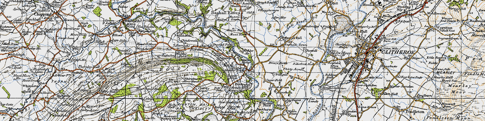 Old map of Upper Hodder in 1947