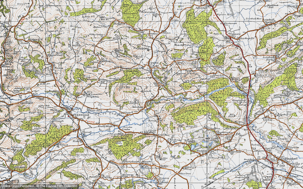 Old Map of Historic Map covering Lingen Vallet Wood in 1947
