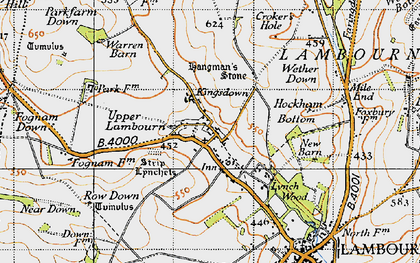 Old map of Whit Coombe in 1947