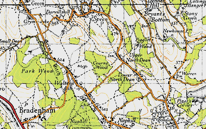 Old map of Upper North Dean in 1947