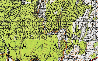 Old map of Upper Soudley in 1946