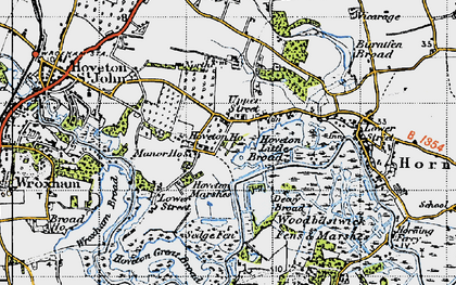Old map of Wroxham Broad in 1945