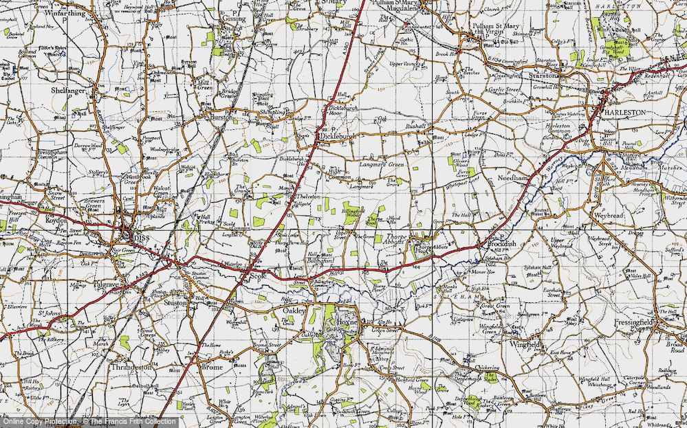 Old Map of Historic Map covering Langmere in 1946