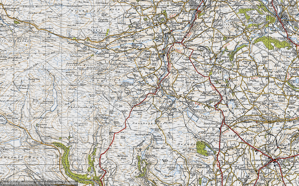 Old Map of Historic Map covering Thurrish Rough in 1947