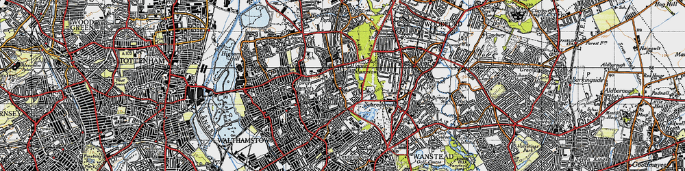 Old map of Whipps Cross Hospl in 1946