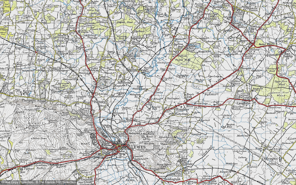 Old Map of Historic Map covering Barcombe Ho in 1940