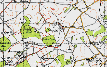 Old map of Wield Wood in 1945