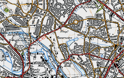 Old map of Witton Lakes in 1946