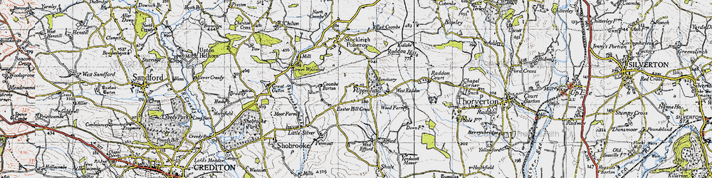Old map of West Raddon in 1946