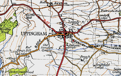 Old map of Uppingham in 1946
