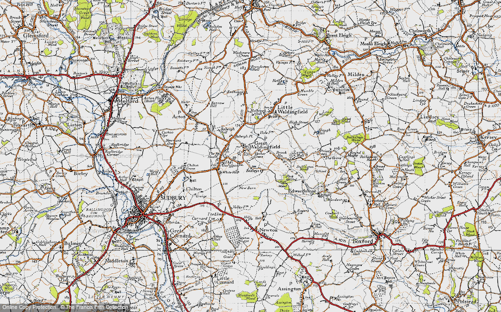 Old Map of Historic Map covering Badleys in 1946