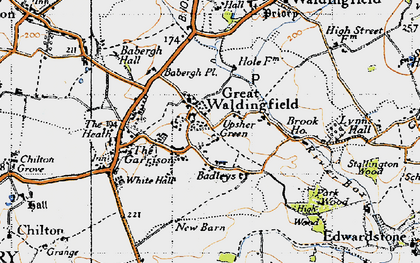 Old map of Badleys in 1946