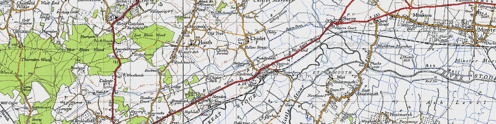 Old map of Upstreet in 1947