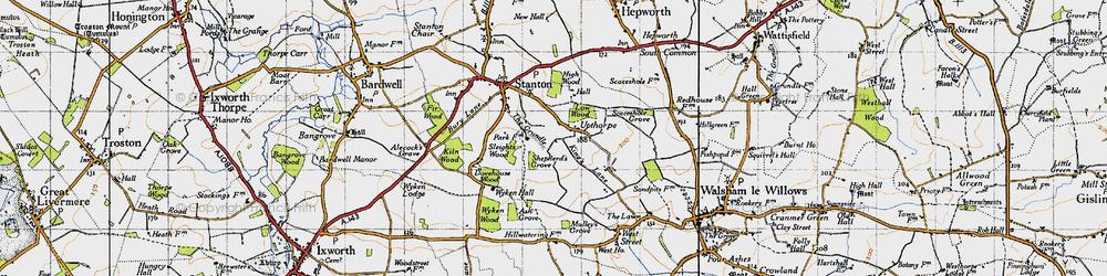 Old map of Wyken Wood in 1946
