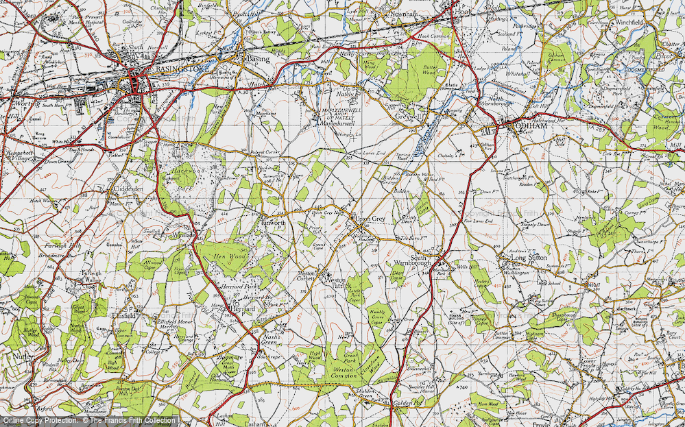 Old Map of Upton Grey, 1940 in 1940