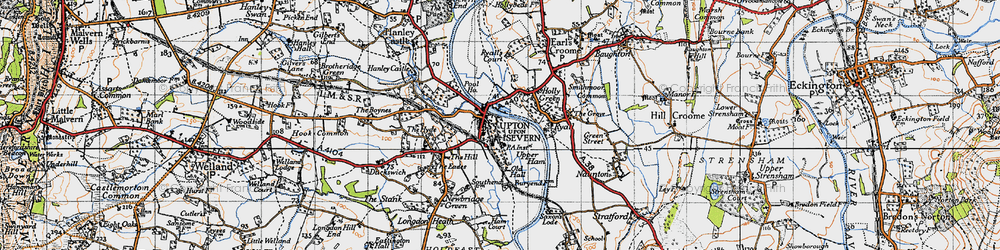 Old map of Upton upon Severn in 1947